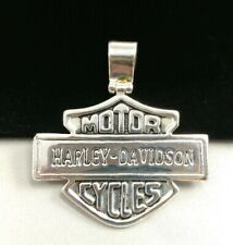 """W) 1.75"""" Silver Plated Harley Davidson Motorcycle Sheild Pendant Charm Necklace"""