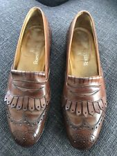 EDWARD GREEN Kiltie Loafers Brown Leather Mens Shoes Slipons 7.5 8