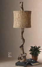 BROWN WEATHERED DRIFTWOOD FINISH TABLE LAMP BLACK BASE NATURAL TWINE SHADE LIGHT