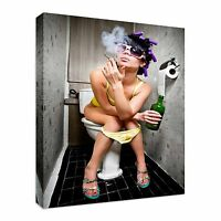 Smoking Girl Toilet Canvas Wall Art Picture Print