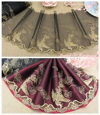 """8""""*1Y Embroidered Tulle Lace Trim~Black+Old Gold~Flying Pheonix~Noble &Glory~"""
