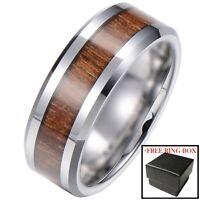 Silver Tungsten Carbide Ring Real Koa Wood Inlay Hawaiian Wedding Band Mens