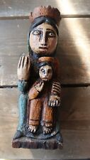 Antique Carved Wood Queen Boy King Statue Figure 7.75 x 2.5 inches