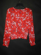 European Boutique Cubus Girls Red Floral Cherry Blossom Sheer Shirt Sz 158 10-12