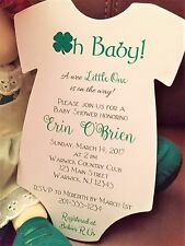 Set of 10 Irish Themed Shamrock Baby Shower Invitation Boy or Girl Baby Shower