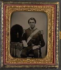 Photo Civil War Union Soldier 6th Massachusetts Infantry Regiment Bearskin Hat