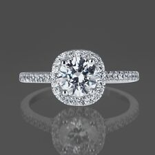 1 CT DIAMOND ENGAGEMENT RING ROUND CUT D/SI 14K WHITE GOLD ENHANCED