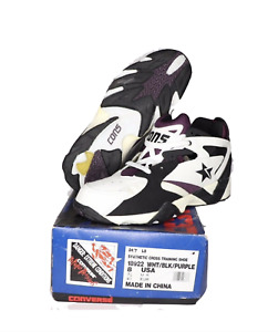 NOS Vtg 90s Converse 24/7 Lo Cross Trainer Sneakers Shoes White Purple Mens 8