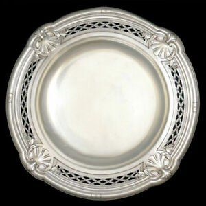 Antique French Sterling Silver Centerpiece Tazza Footed Tray Repousse Sea Shells