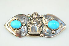 SOUTHWESTERN HANDCRAFTED STERLING SILVER TURQUOISE PIN WITH 3-D PERSON SIGNED SC