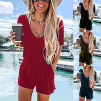 Lady V-Neck Short Sleeve Pocket Playsuit Women's Casual Summer Jumpsuit Romper