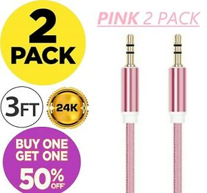2 Pack AUX Cable Auxiliary Cord 3.5mm Cable for Car Audio iPhone Samsung Android