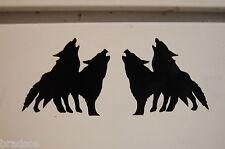 2 wolves tribal Left - right decal vinyl sticker car truck bumper laptop window