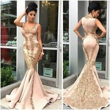 New Mermaid Long Prom Dress Gold Appliques Evening Celebrity Cocktail Party Gown