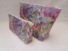 HANDMADE OILCLOTH SET OF 2 MAKE UP TOILETRY WASH BAG - VOYAGE HYDRANGEA FABRIC
