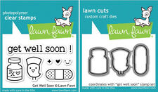 Lawn Fawn GET WELL SOON LF682 & LF683 Clear Stamp and Die Set