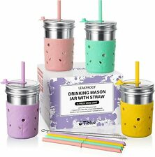 Kids and Toddler Cups with Straw - 4 Pack Spill Proof 10 OZ Stainless Steel +4