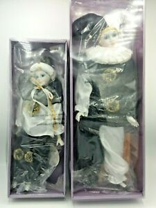 2 X Vintage Collectable Leonardo Harlequin Pierrot Porcelain Dolls In Boxes