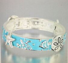 BEACH FASHION  NAUTICAL AQUA BLUE SAND DOLLARS SEA LIFE STRETCH BRACELET