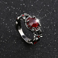 Ruby Ring CZ Red Women's Retro Black Gold Filled Wedding Jewelry Gift Size 5-10