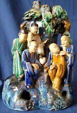 Antique 19th century Chinese Sancai glaze pottery scholars figure vase ornament