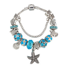 Sara Marine Charm Bracelet Silver Plated European Glass Beads - Blue