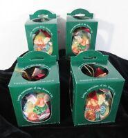 Enesco Angel Christmas Tree Ball Ornament Set of 4 Handmade Decoupage New in Box