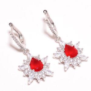 "Ruby & White Topaz Gemstone 925 Sterling Silver Earring Jewelry 1.5"" E630-15-13"