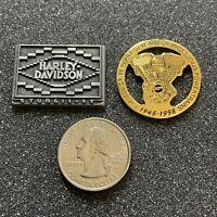 Lot of 2 Harley Davidson Motorcycles Pins Pinbacks Sturgis Capitol Drive Plant