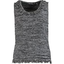 New TTAHARI Premium Woven Sleeveless Jumper Cardigan Sweater Black Marled XS