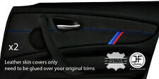 BLUE STICH M STRIPE 2X FRONT DOOR CARD TRIM LEATHER COVERS FOR BMW 1 E87 04-12