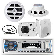 """Pyle Boat USB Bluetooth Radio, 6.5"""" Speakers, 8"""" Tower LED Speaker Set, Antenna"""