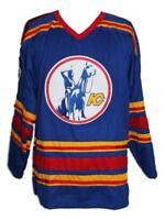 Custom Name # Kansas City Retro Hockey Jersey New Blue Charron Any Size