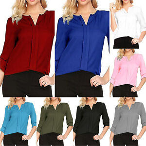 Women Long Sleeve Solid T-Shirt Slim Tops V Neck OL Work Career Shirts Plus Size