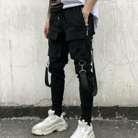 Men's 4 Side Pockets Pencil Pants Hip Hop Patchwork Ripped Sweatpants Streetwear