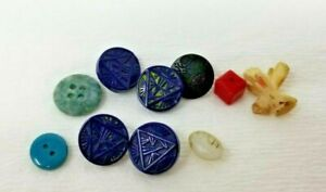 Lot of 9 Vintage Buttons Black Green Blue Triangle Design