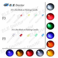 3 5mm Round Top Water Clear Diffused Flicker LED Diodes White Red 1.5HZ Blink