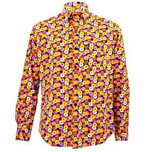 Mens Shirt Loud Originals TAILORED FIT Floral Pink Retro Psychedelic Fancy