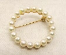 Vtg 14K Gold Cultured Pearl Brooch Wreath Pin Donut Estate Circle 2.5mm Cluster
