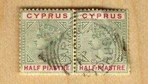 ♕Cyprus 1896 Half Piastre Green & Carmine Stamp Pair 🔥