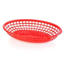 BarBits Red Oval Fast Food Baskets Set of 12 - American Plastic Side Burger Chip