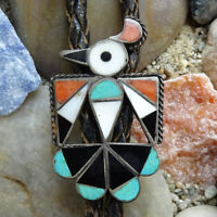 Old Native American Zuni HEX Thunderbird Bolo Tie Turquoise Coral 925 Sterling
