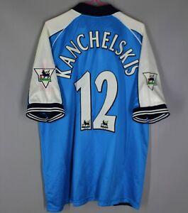 MANCHESTER CITY 1999 2001 HOME FOOTBALL SHIRT JERSEY LECOQ #12 KANCHELSKIS