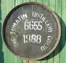 """Rare 1988 Tomatin Whisky Barrel lid 25"""" wide Braced and ready to hang"""