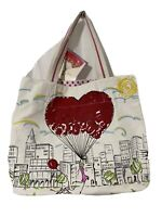 "Brighton ""B MINE"" FREE YOUR HEART Canvas LARGE TOTE Shopper Bag Purse New with T"