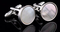 Silver Mother of Pearl Shell Mens Wedding Gift Cuff links by CUFFLINKS DIRECT