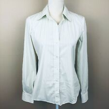 Theory Womens M Shirt White Green Stripe Button Long Sleeve Career Top C5