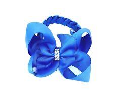 Ragazza Fiocco per Capelli Chignon Wrap Bambina Scuola Capelli Royal Blu e bianco spedizione gratuita UK