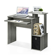 Grey Wood Effect Computer Desk with Shelves and Storage Bin