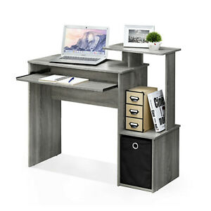 French Oak Wood Effect Computer Desk with Shelves and Storage Bin